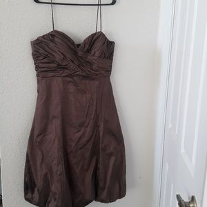 Spaghetti strap ruched bodice and hem dress